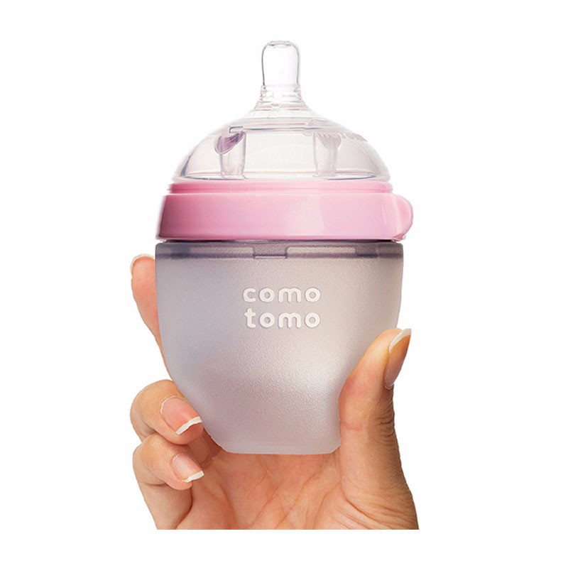 COMOTOMO/可么多么 防胀气宽口硅胶奶瓶  粉色 150ML 2件装(150ml奶瓶自带1滴)