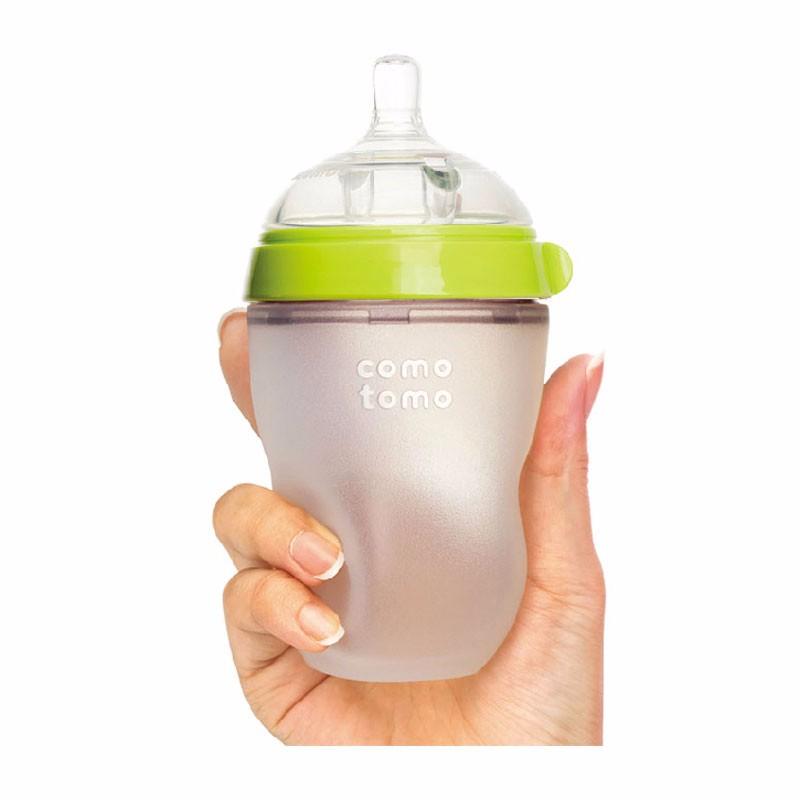 COMOTOMO/可么多么 硅胶奶瓶  绿色 250ML 3件装(250ml奶瓶自带2滴)