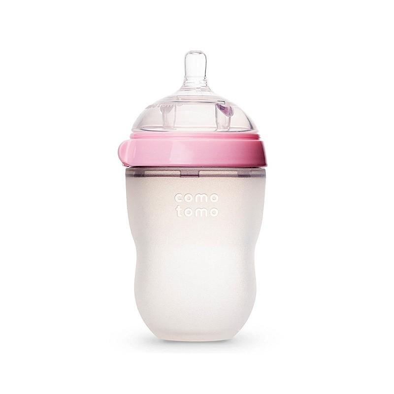 COMOTOMO/可么多么 硅胶奶瓶粉色250ML+ 硅胶奶嘴-1滴 2只 0-3个月