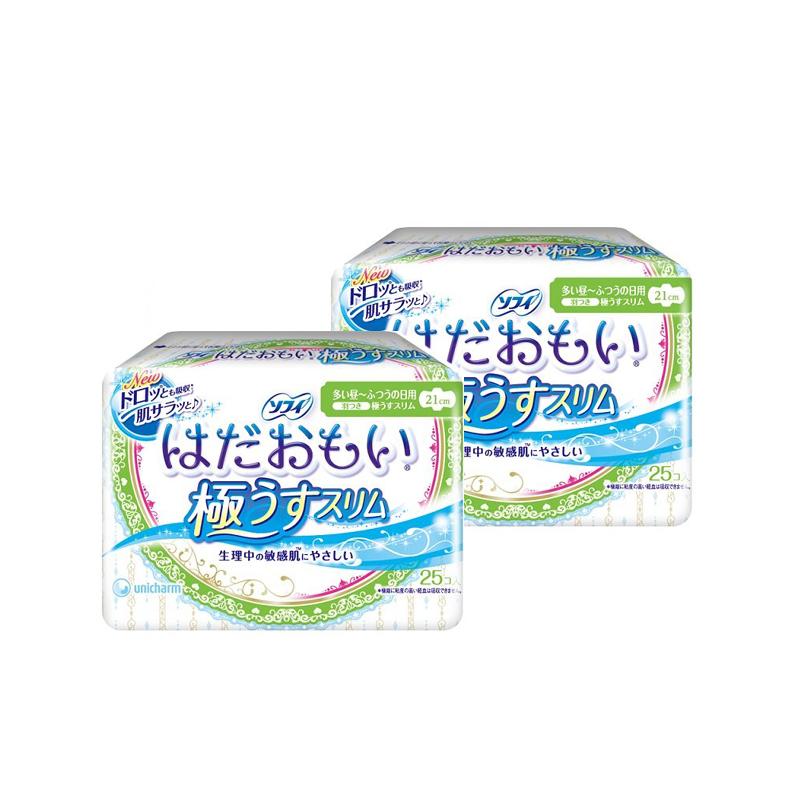 尤妮佳Unicharm 苏菲日用超薄敏感肌护翼卫生巾 21cm 25片/包*2包