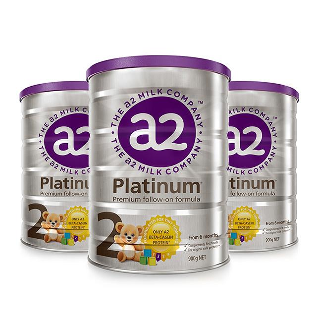 a2白金版婴儿配方奶粉2段 6-12个月 900克*3罐