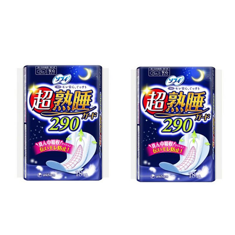 Unicharm尤妮佳 苏菲防侧漏超熟睡夜用卫生巾 18片*2包